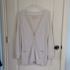 *Tulle   Cream Long Cardigan with Pockets